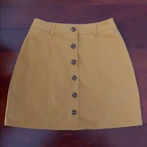 Gold button down A line skirt